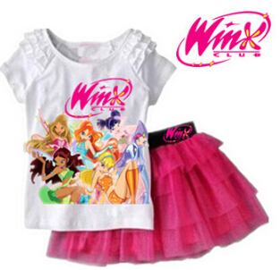 2014 New Girls Clothing Set Winx Club T shirt + Skirt 2Pcs/set Suits Cartoon Kids Set Children's clothes kids suits Free ship(China (Mainland))