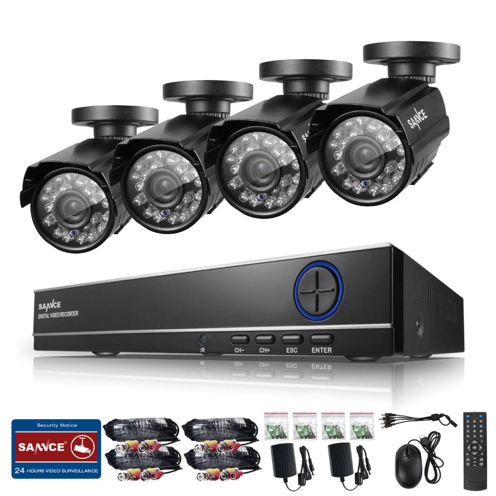 SANNCE HD 4CH CCTV System 960H 1080P DVR NVR HVR 800TVL 4PCS Outdoor Security Waterproof Night Vision Cameras Surveillance Kits(China (Mainland))