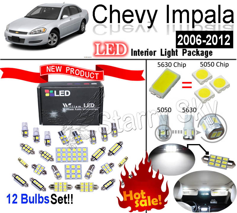 12 Pcs Xenon Super Bright Led Smd Interior Light Kit For Chevy Impala 2006 2012 In Reading