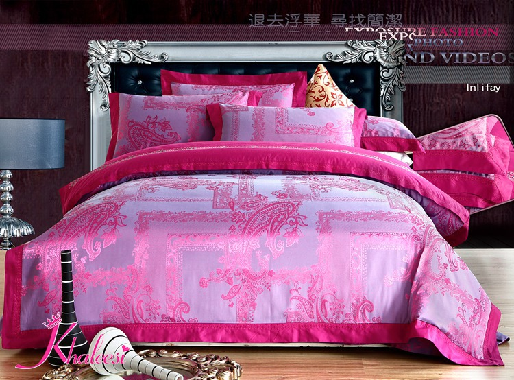 Luxury Satin Bed Set Light Pink Flower Jacquard Bed Cover Bed Linen Bed Sheet King/Queen Size