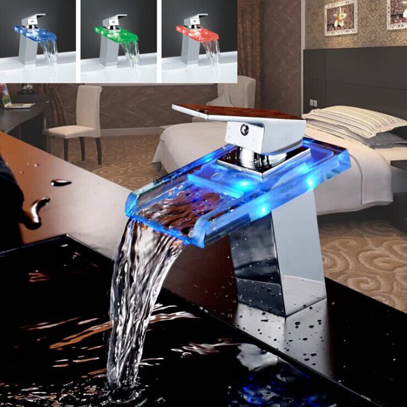 3 Colors Glass Waterfall Faucet Single Hole Ceramic Cartridge Bathroom Faucet Water Tap Cold Hot Inlet Basin Deck Faucet(China (Mainland))