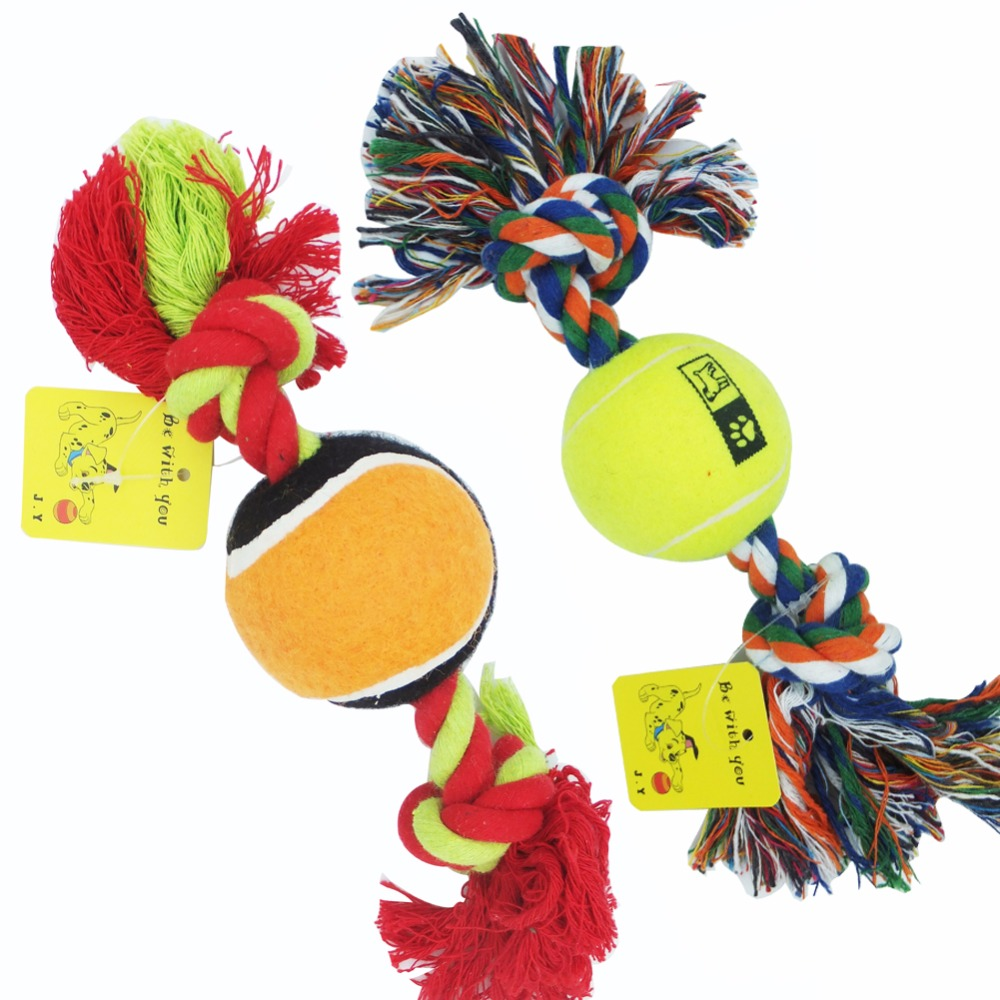 Pet Squeaky Tennis Balls with 12'' Aggressive Chew and Tug Dog Toys,Colors May Vary Set of 2(China (Mainland))