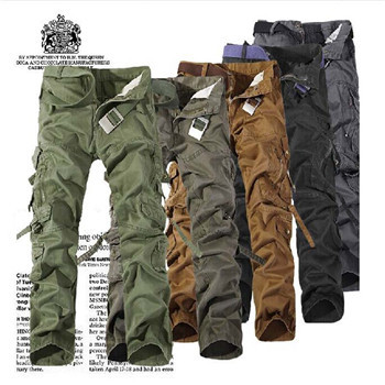 2015 Outdoor Men's Cotton Combat Multi Pockets Casual Loose Full Length Cargo Pants Work Trousers Camouflage Plus Size 28-40(China (Mainland))