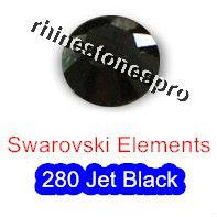 ss34 GENUINE Swarovski Elements Jet Black ( 280 ) 6 pcs ( NO hotfix Rhinestone ) Round Glass 34ss 2058 FLATBACK Bulk(Hong Kong)