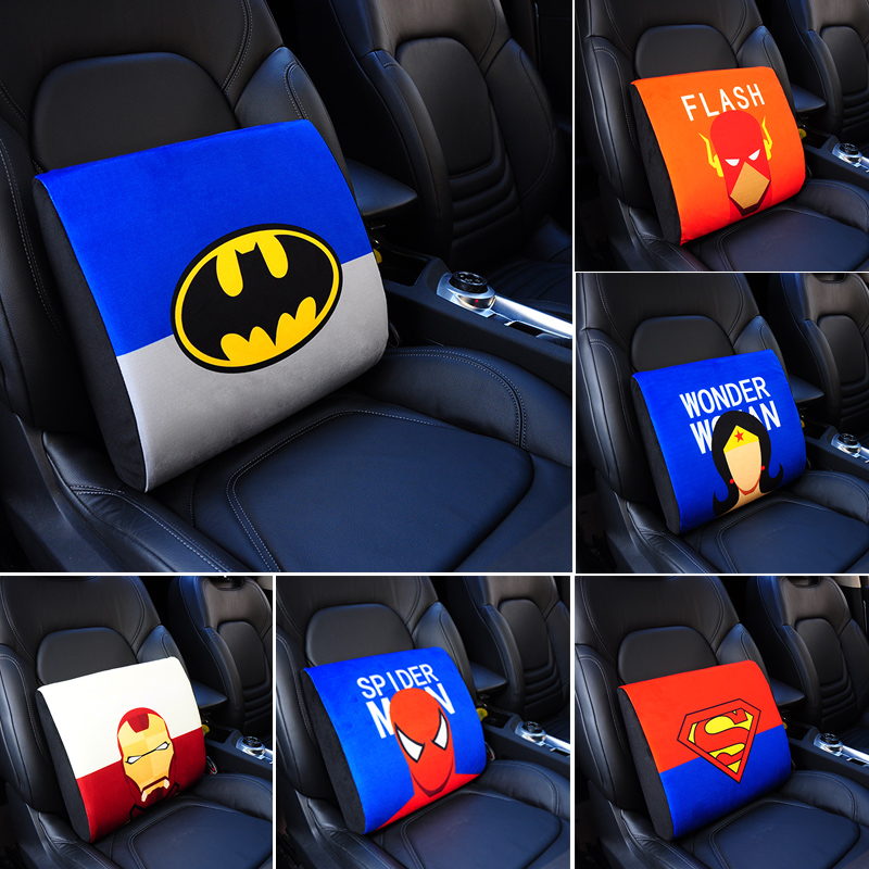 New Cartoon Super hero Car Lumbar support Back Cushion short plush fabric memory foam seat covers car interior accessories(China (Mainland))