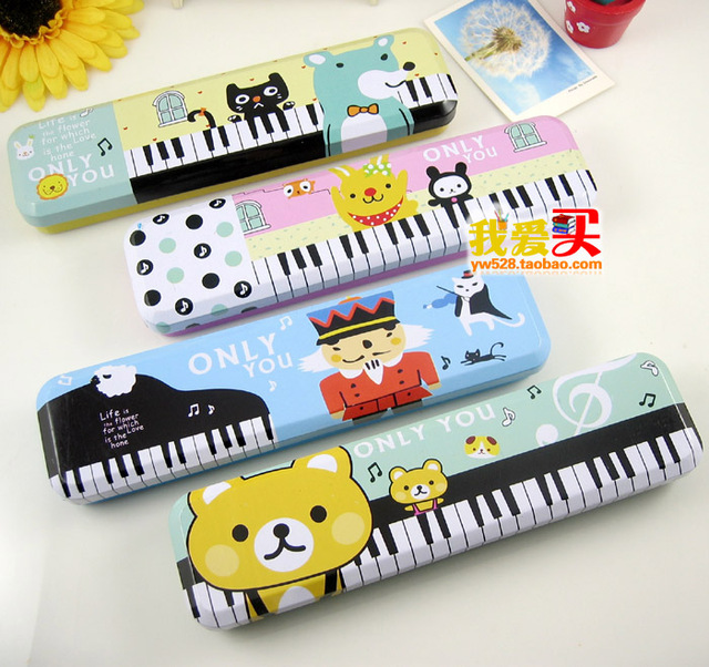 Korea stationery piano kolkatan 's pencil box cartoon animal double layer iron stationery box mini pencil box