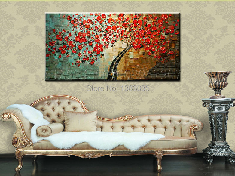 Hand Painted Textured Palette Knife Tree Red Flower Oil Painting Abstract Modern Canvas Wall Art Living Room Decor Picture - Fashion Decoration store