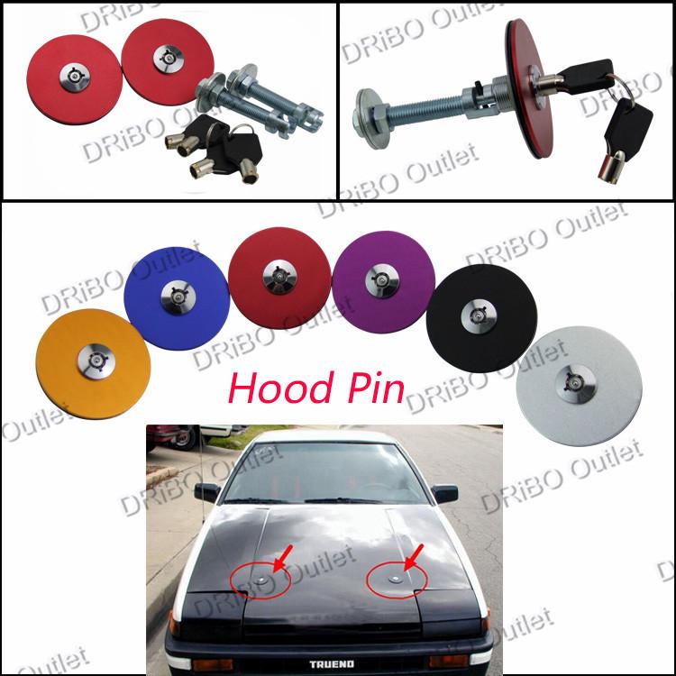 Universal Aluminum Hood Pin Lock With Key for Engine Bonnet 2 Piece/Set(China (Mainland))