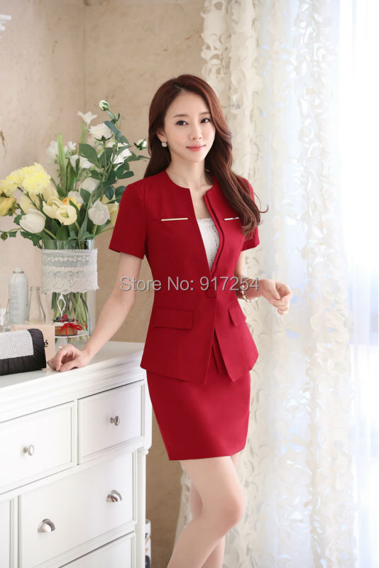 Luxury Women Business Suits Blazer Coat And Skirts Sets Work Wearin Skirt