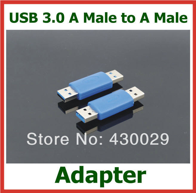 50pcs USB3.0 AM to AM Converter Adapter Extender USB 3.0 A Male to A Male Cable Connector(China (Mainland))
