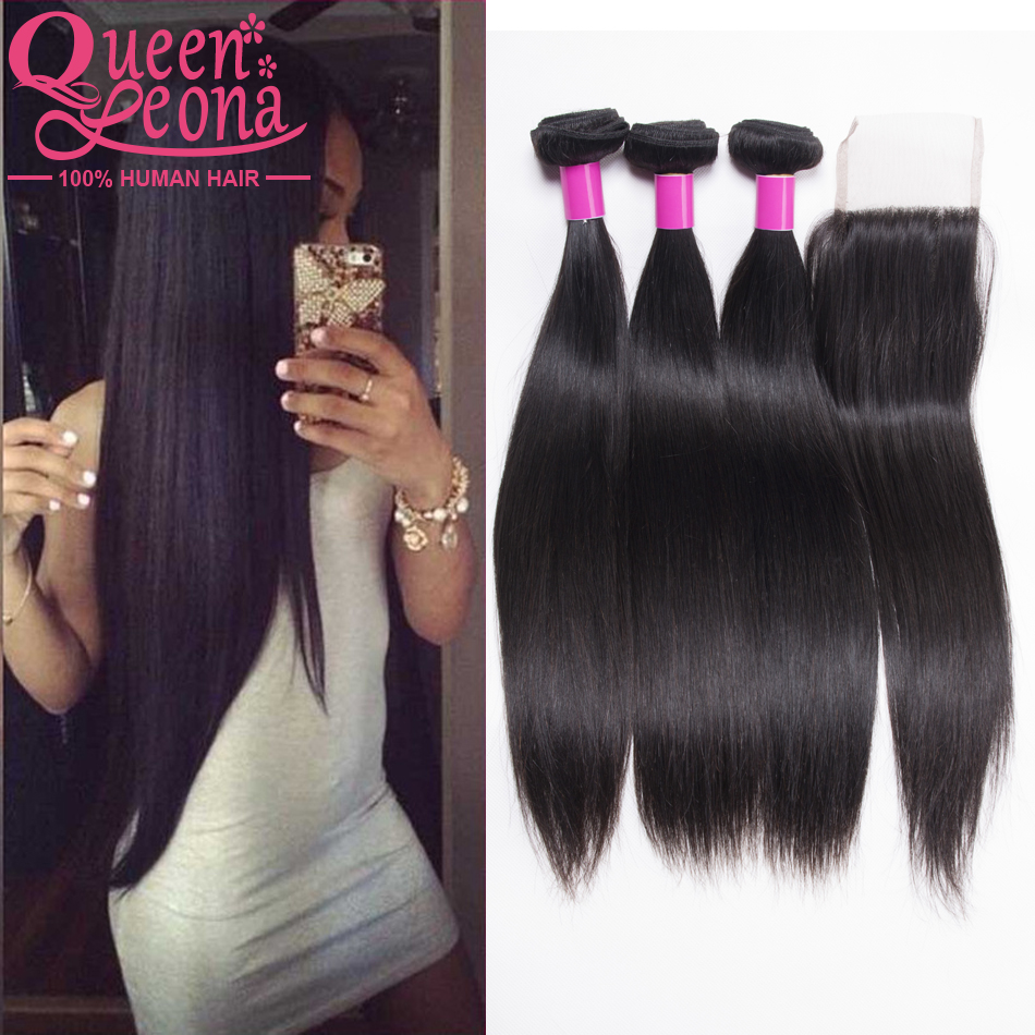 Virgin Malaysian Straight 4 Bundles And a Closure Cheap Straight Human Hair Bundles With Closure Alimoda Malaysian Straight Hair<br><br>Aliexpress