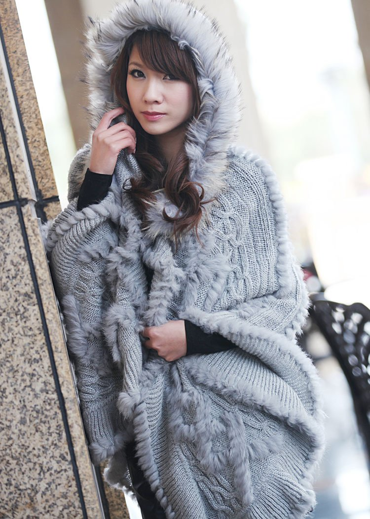 Free Shipping 2012 New Factory Sale Genuine Rabbit Fur knitted Poncho with Raccoon Dog Fur Collar Hoodie PonchoОдежда и ак�е��уары<br><br><br>Aliexpress