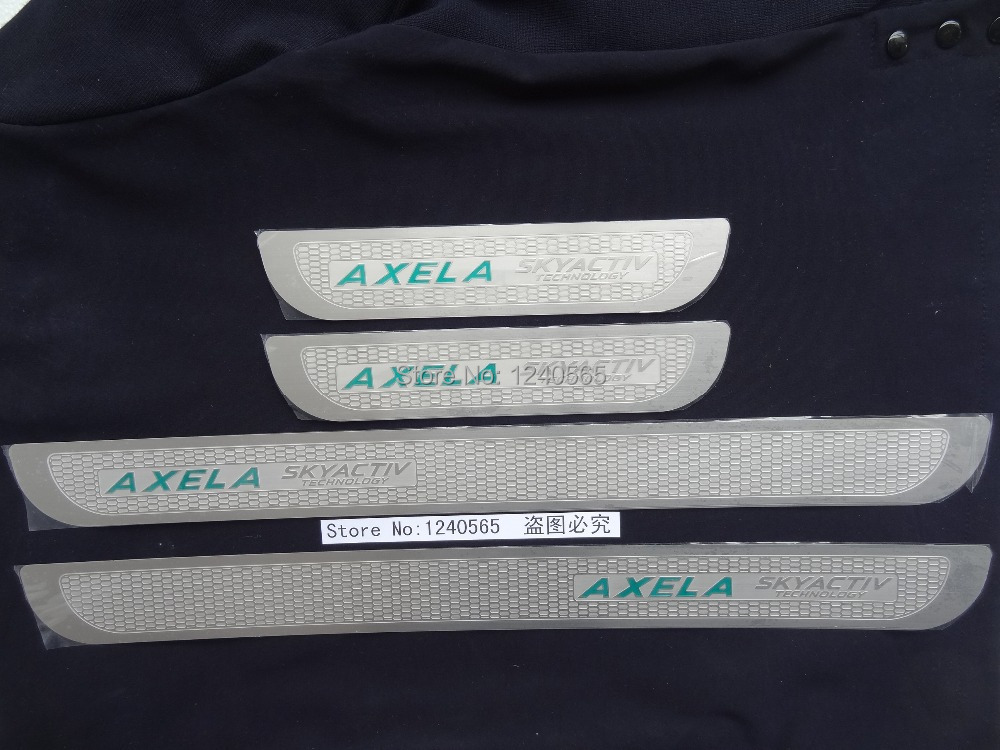 Free shipping boutique pedal steel door scuff etched thin strips For Mazda3/Axela 2014(China (Mainland))