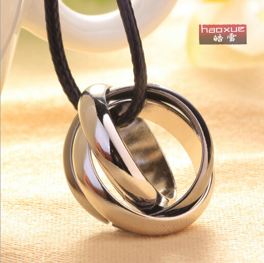 New Fashion Lovers' Necklace, Three Circles Titanium Pendant Necklaces,short Neckless Women Neckless Men Jewelry(China (Mainland))