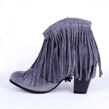 KARINLUNA Plus Kích Thước 48 Nâu Đen Hồng Tua Rua Giày Cao Gót Nữ Giày Nữ Người Phụ Nữ 2019 Giày tây Vintage Viền Mắt Cá Chân Giày(China)