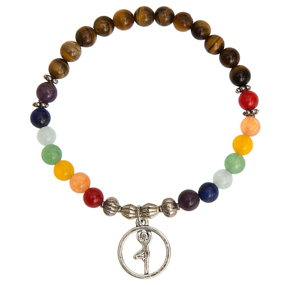 New Men Women Bracelet 7 Chakra Yoga Tiger Eye Buddha Bead Multicolor Stone Wristband Jewelry Antique Silver Prayer Armbanden(China (Mainland))