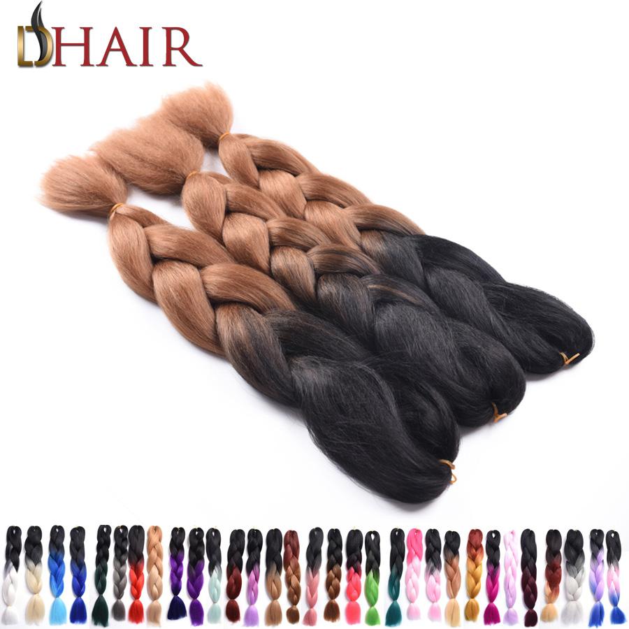 "24"" 100G Black&Brown Ombre Two Tone High Temperature Kanekalon Jumbo Box Braiding Synthetic Dreadlocks Hair 1-10 Pieces On Sale(China (Mainland))"