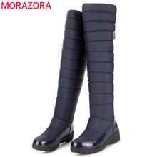 De gran tamaño de las mujeres botas de alta calidad de Rusia rodilla caliente grueso de piel charol botas para la nieve de invierno zapatos de mujer sobre la rodilla botas(China (Mainland))