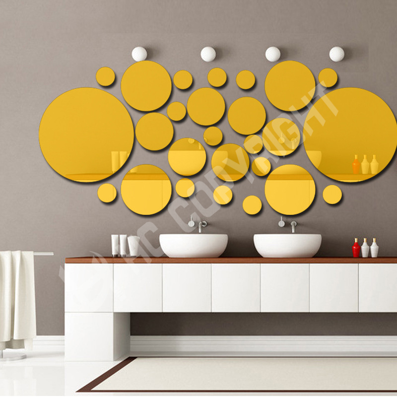 Multi-piece 3D Wall Stickers DIY Home Decoration Round Mirror Surface Wall Sticker Removable Decal Art Mural Home Decor(China (Mainland))