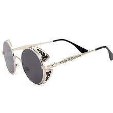 Retro Steampunk Sunglasses For Women Men,  Vintage Round Metal Punk Mirror Sun Glasses oculos de sol feminino masculino 881