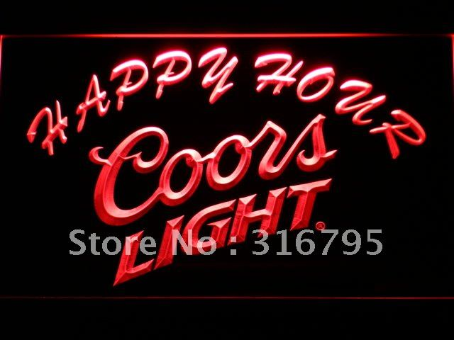 603-r Coors Light Happy Hour Beer Bar LED Neon Sign with On/Off Switch 7 Colors to choose(China (Mainland))