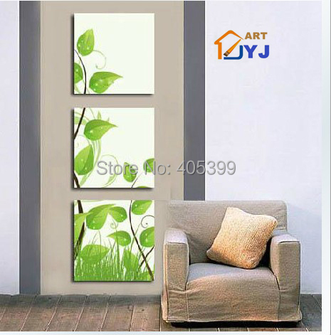 3 Panels Green Color Leave Wall Picture for Living Room Hand painted Abstract Oil Painting On Canvas Wall Art Gift JYJATH007