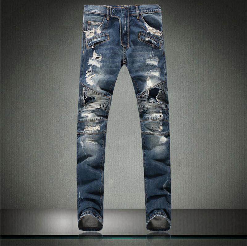 Фотография HOT Jeans Men Fashion Ripped Distressed Destroyed Denim Pants Plus Size 28-40 pantalones vaqueros hombre pitillo  mens casual