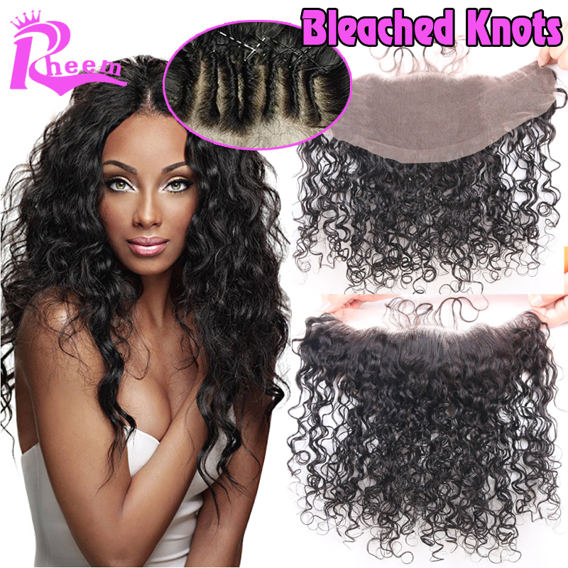 7A Peruvian Water Wave Lace Frontal Closure Bleached Knots 13X4 Virgin Human Hair Ear To Ear Full Lace Frontal With Baby Hair<br><br>Aliexpress