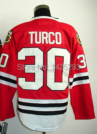 #30 Marty Turco Jersey,Ice Hockey Jersey Stitched Logos,Men's Stanley Cup Champions Patch Cheap Chicago Jersey(Black,Red)(China (Mainland))