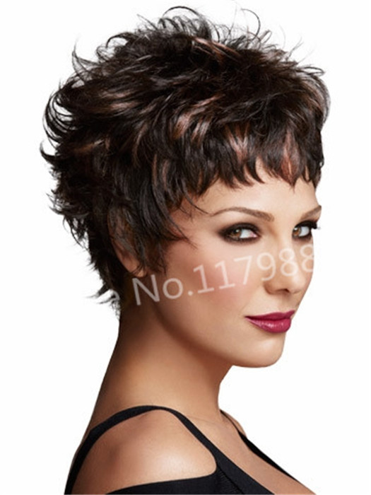 sexy tempting dark brown curly highlights natural short