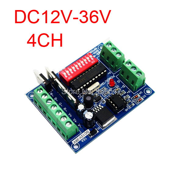 4CH RGBW dmx512 dimmer Controller,4 channel dmx 512 decoder,DC12V-36V output,Each max 4A,LED DMX512 decoder - Wushi Optoelectronics Store store