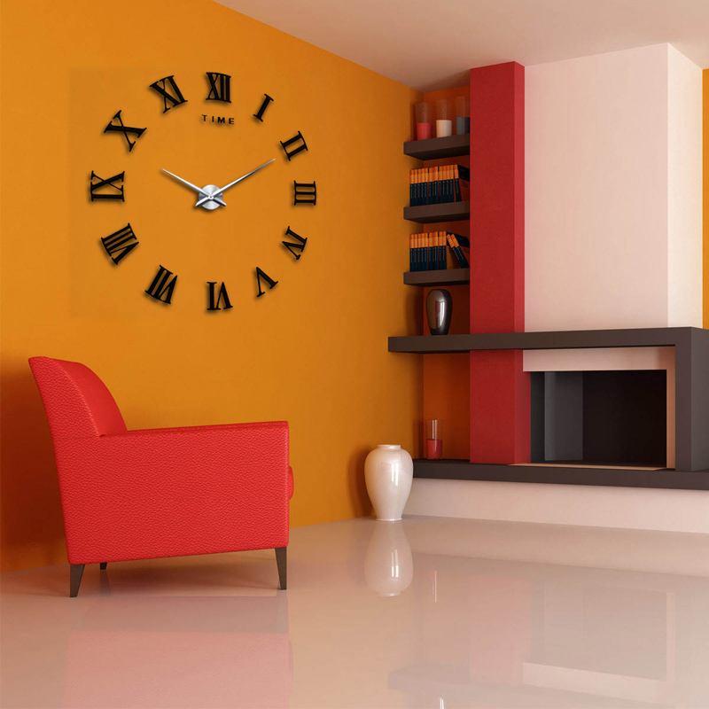 2015 New Home Decor Large Roman Mirror Fashion Modern Quartz Clocks Living Ro