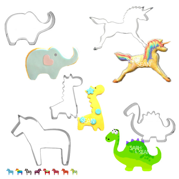 5pcs/set Lovely Animal Series of Qute Elephant Unicorn Dinosaur Giraffe Horse Metal Cookie Biscuits Stainless Steel Cutters(China (Mainland))