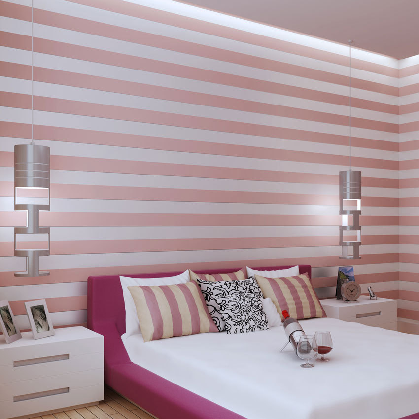 Hot New Products for 2016 Thicken Simulation Pink Stripe Eco-friendly Wallpapers Bedding Room Non Woven Fabric Wholesale PL(China (Mainland))