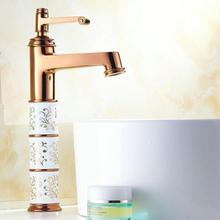 Buy Newly Modern Luxury Solid Brass Bathroom Sink Basin Faucet Mixer Tap ceramic body Gold Polish single Handles Deck Mounted H-5284 for $110.00 in AliExpress store