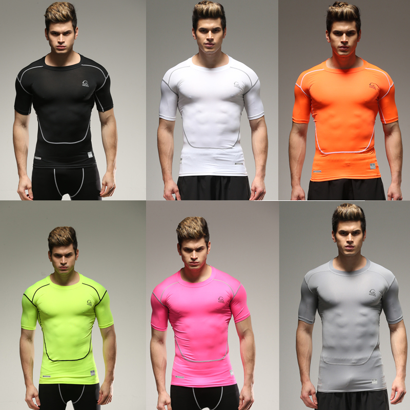 6 Colors Fashion Male fitness sportswear tights Mens Spandex/Lycra Compression top tees breathable Active t shirt quick dry(China (Mainland))