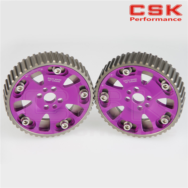 CAM GEARS PULLEY KIT for NISSAN SKYLINE RB20 RB25 RB26 R32 R33 R34 Purple 2pcs(China (Mainland))