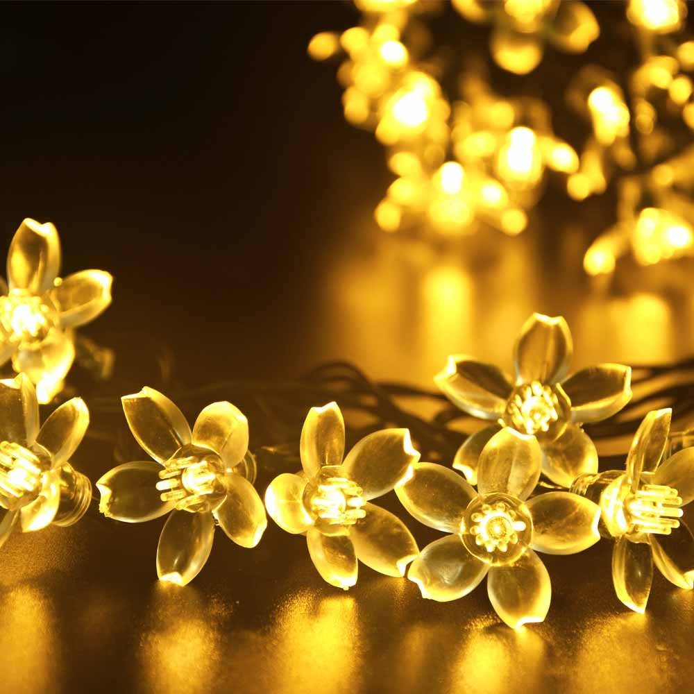 50 Led Solar Floral Pendant LED Party Garland String Lights Decoration Christmas Outdoor Garden Light Luces Cherry Solare Patio(China (Mainland))
