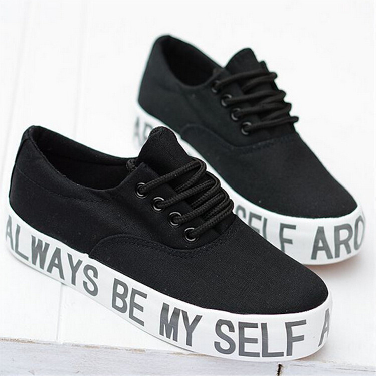 New Arrival Fashion Thick Sole Letter Print Women Sneakers Platform Elevator Shoes Casual Lace Up Low