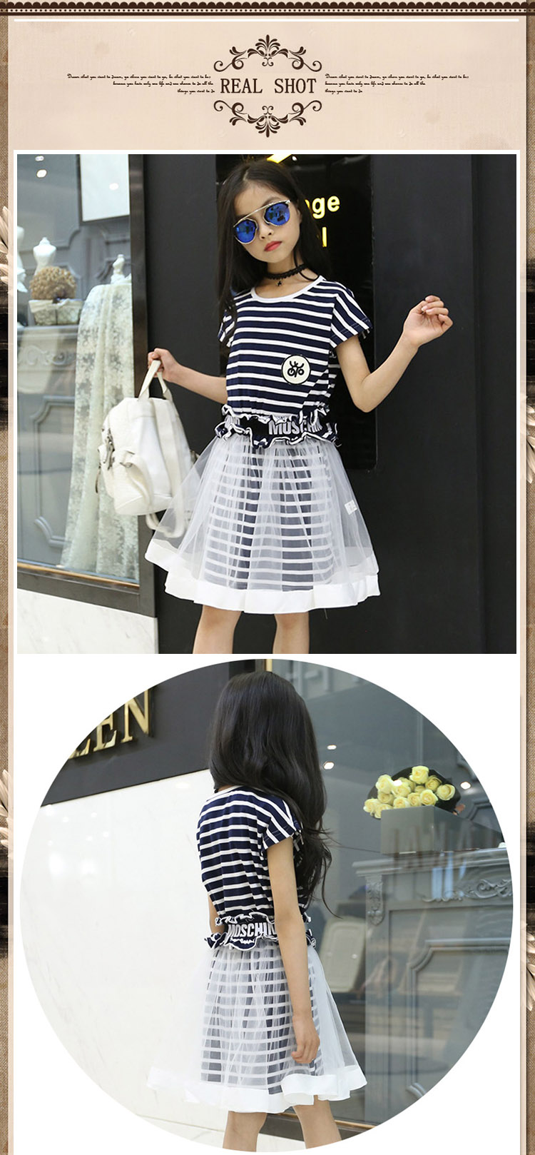 Teenage Girl Dress+Tulle Skirts Casual Striped Summer Dresses Girls Clothes Suits Kids Brand Children Clothing Sets for Party