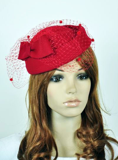 Bow & Lace 100% Wool Elegant Lady Women Dress Formal Church Hat Fedora Cap Red(China (Mainland))