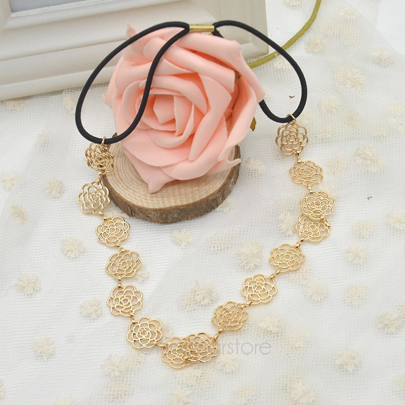 Women's Hair Accessories,High QualityFashion Elegant Hollow Rose Camellia Flower Band Soft Elastic Headband #45 - Moonar Store store
