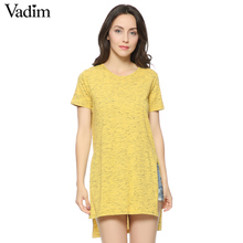 Women yellow short sleeve T shirt side split O-neck long shirts camisas femininas casual tees loose tops new arrival DT385(China (Mainland))