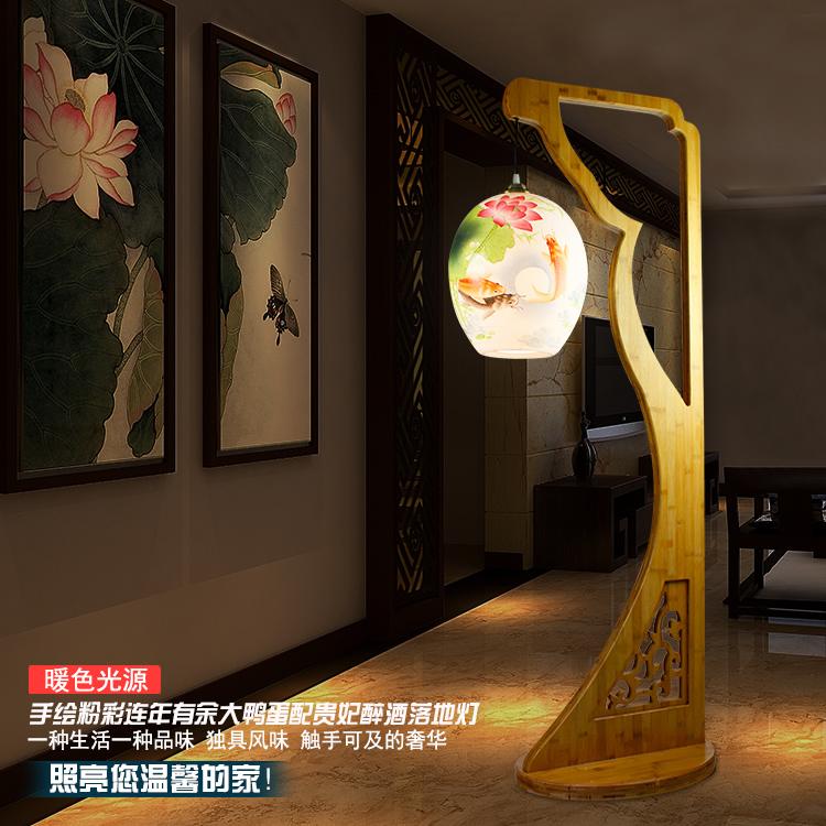Chinese Living Room Bedroom Drunken Beauty Ceramic Floor Lamp Creative Led E27 90-260V European Modern Porcelain Bamboo Lamp(China (Mainland))