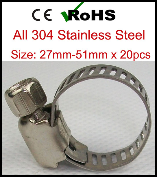 27mm-51mm x 20pcs American Type Hose Clamps Stainless Steel 304 Clips Pipe(China (Mainland))