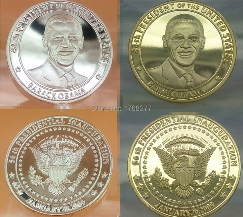 200pcs/lot(100+100),Mix silver/gold plated Commemorative COINS and the president of United state Barack Obama American coins,(China (Mainland))