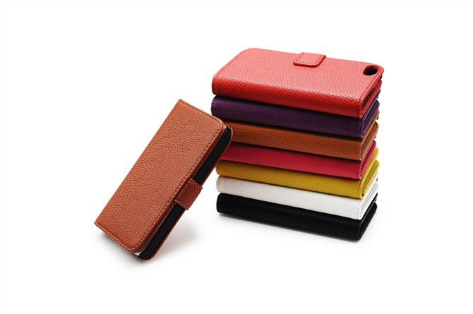 Stand Wallet Lichee Pattern PU Leather Cell Phone Case For iPhone 5G 5S 8 Colors High Quality(China (Mainland))