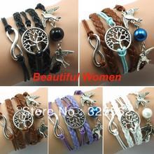 2014 New Various Kinds Bangle Tree Pattern of Life Copper Bracelet Lover Birds Owls Bead Bracelet Watch 19099(China (Mainland))