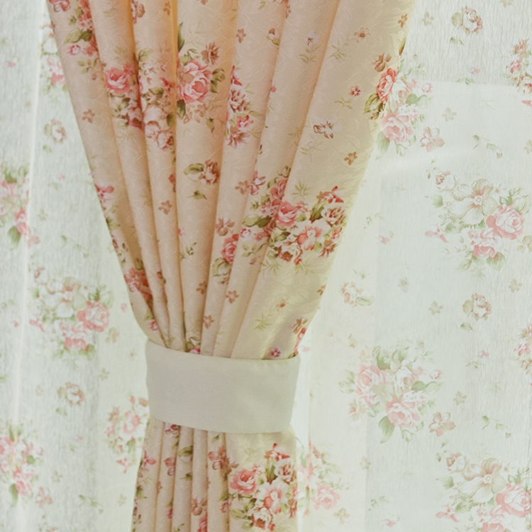 Small floral print rustic curtain fabric finished product for bedroom window