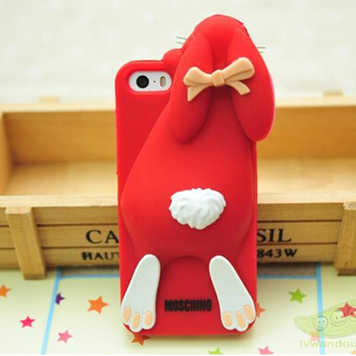 Moshino buck-toothed rabbit silicon case for iphone 5/5s 6 and 6plus 4.7 inch 5.5 inch case cover for phone(China (Mainland))